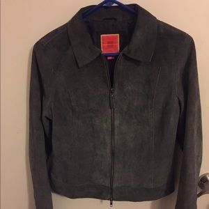 Isaac Mizrahi Grey Suede Jacket